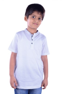 Colsa Solid Boy's Round Neck White T-Shirt