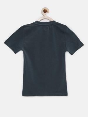 Yk Printed Boy's Round Neck Grey T-Shirt