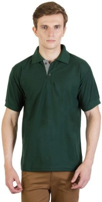 100Tees Solid Mens Polo Neck Green T-Shirt