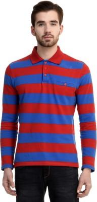 House Of Fett Striped Men's Polo Neck Blue, Red T-Shirt