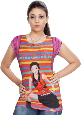 Comix Printed Women's Round Neck Multicolor T-Shirt