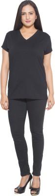Finesse Solid Women's V-neck Black T-Shirt