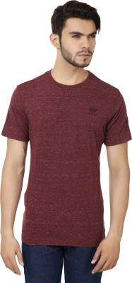 Bajo Self Design Men's Round Neck Maroon T-Shirt