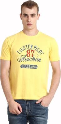 Teen Tees Graphic Print Men,s Round Neck Yellow T-Shirt