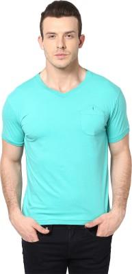 Cherymoya Solid Men's V-neck Light Green T-Shirt