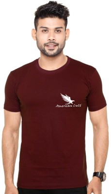 American Cult Solid Men's Round Neck Maroon T-Shirt
