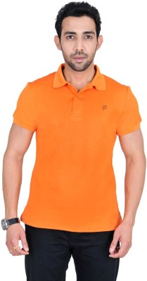 Fabnavitas Embroidered Men's Polo Neck Orange T-Shirt
