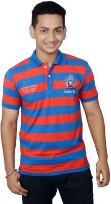 Lemon Slice Striped Men's Polo Neck Blue, Red T-Shirt