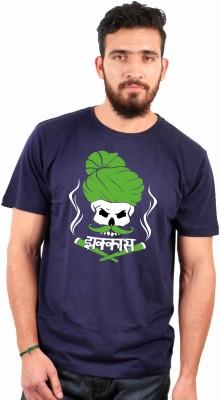 Sukhiaatma Printed Men's Round Neck Dark Blue T-Shirt