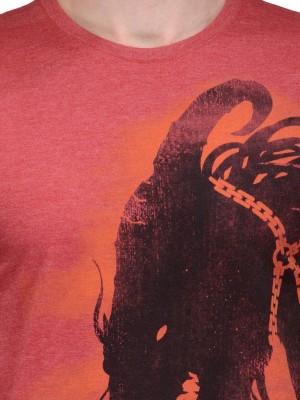 Slingshot Printed Men's Round Neck Red T-Shirt