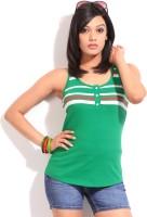Alibi Striped Women's Henley Green T-Shirt best price on Flipkart @ Rs. 399