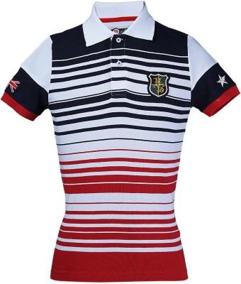 Aubergine Striped Boy's Polo Neck Black T-Shirt