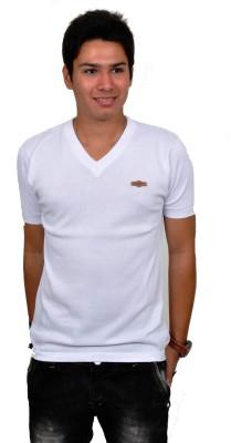 Blue 69 Solid Men's V-neck White T-Shirt