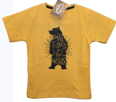 Hussky Printed Boy's Round Neck Yellow T-Shirt