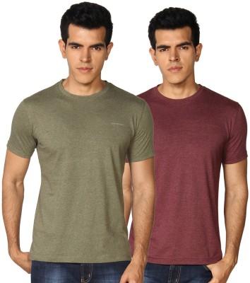 Provogue Solid Men's Round Neck Green, Maroon T-Shirt