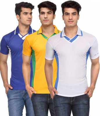 Rico Sordi Solid Men's V-neck Multicolor T-Shirt