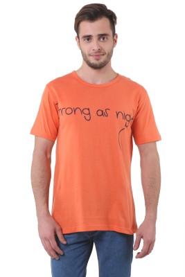 Purys Printed Men,s Round Neck Orange T-Shirt