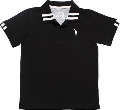Blue Giraffe Solid Boy's Polo Neck Black T-Shirt