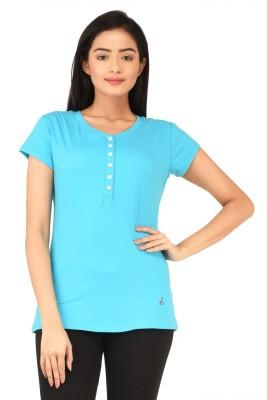 TSG Bliss Solid Women's Round Neck Blue T-Shirt