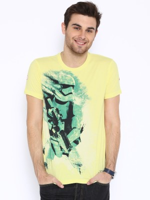 Kook N Keech Star Wars Printed Men's Round Neck Yellow T-Shirt