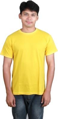 Megsto Solid Men's Round Neck Yellow T-Shirt