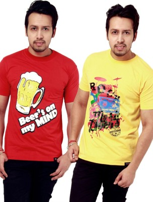 Crypticvoodoo Graphic Print Men's Round Neck Yellow, Red T-Shirt