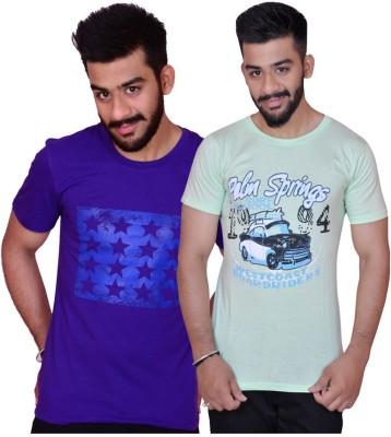 Inez Printed Men's Round Neck Purple, Light Green T-Shirt