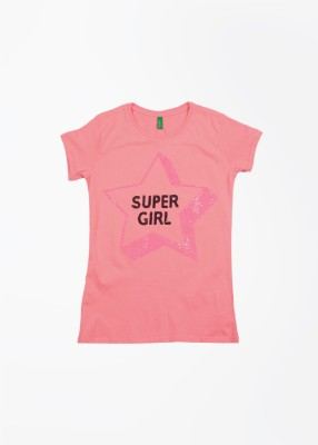 United Colors of Benetton Solid Girl's Round Neck Pink T-Shirt