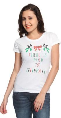 Maatra Printed Women,s Round Neck White T-Shirt