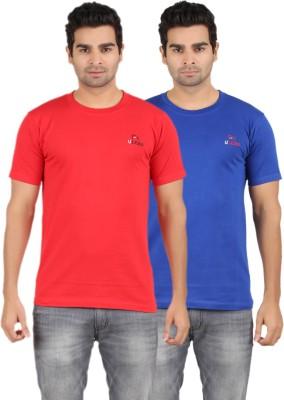 U Lead Solid Men's Round Neck Red, Blue T-Shirt