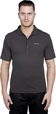 Craghoppers Solid Men's Polo Neck Black T-Shirt