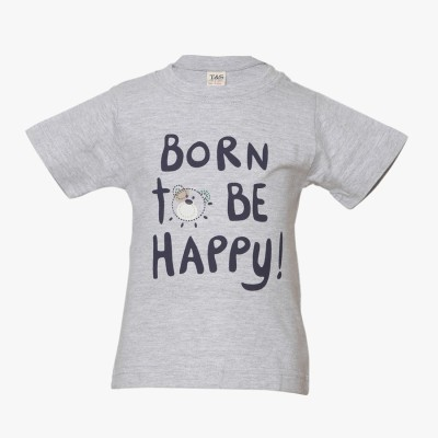 Tales & Stories Graphic Print Baby Boy's Round Neck Grey T-Shirt