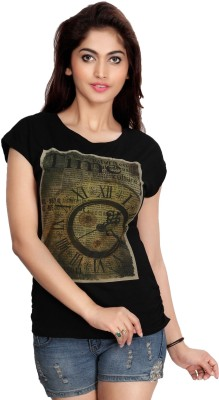 Comix Graphic Print Women's Round Neck Black T-Shirt