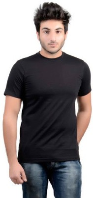 DS WORLD Solid Men's Round Neck Black T-Shirt