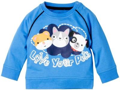 Fisher-Price Striped Baby Boy's Round Neck Blue T-Shirt