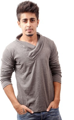 Sciocco Solid Men's Draped Neck Grey T-Shirt