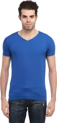 TEES COLLECTION Solid Men's V-neck Blue T-Shirt