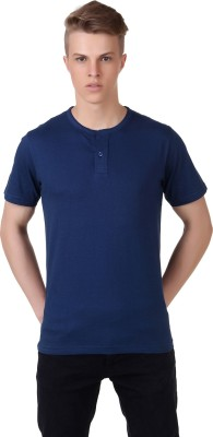 Aventura Outfitters Solid Men's Henley Dark Blue T-Shirt