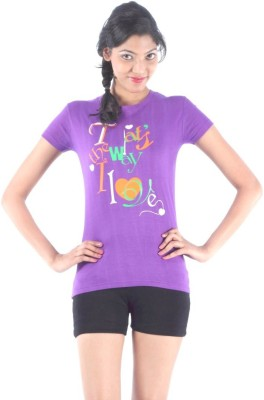 S9 Women Printed Women's Round Neck Purple T-Shirt