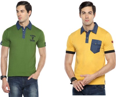 Swing9 Embroidered Men's Polo Neck Dark Green, Yellow T-Shirt