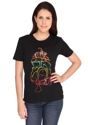 Idiot Theory Printed Women's Round Neck Black T-Shirt