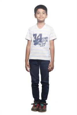STOP by Shoppers Stop Printed Boy,s V-neck Yellow, White T-Shirt