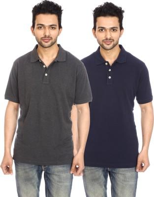 Avantaa Tees Solid Men's Polo Neck Black T-Shirt