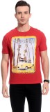 TAB91 Graphic Print Men's Round Neck Red...