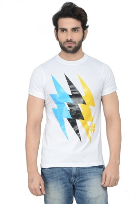 Karnik Couture Printed Men's Round Neck White T-Shirt