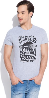 Silly People Graphic Print Men's Round Neck Grey T-Shirt