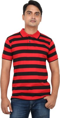 LOOX by Apoorti Striped Men's Polo Neck Red, Black T-Shirt