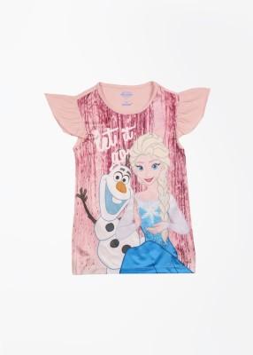 Frozen Printed Girl's Round Neck Pink T-shirt