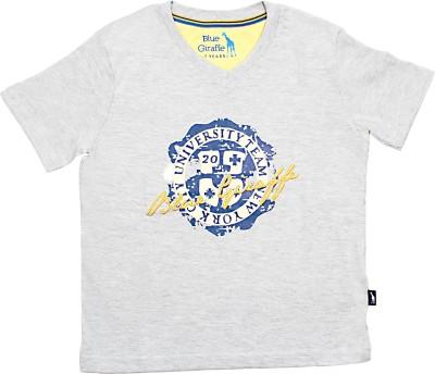 Blue Giraffe Printed Boy's V-neck Blue T-Shirt