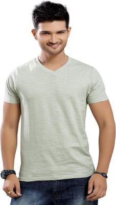 Stephen Armor Solid Men's V-neck Grey T-Shirt